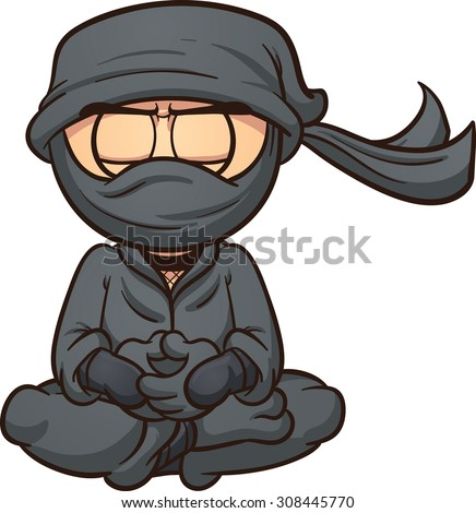 Meditating cartoon ninja. Vector clip art illustration with simple gradients. Ninja and mask's clothes are on separate layers. - stock vector