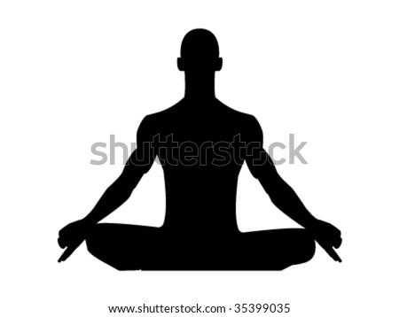 meditating man - stock vector