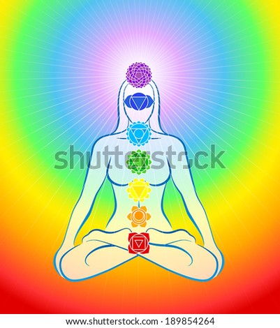 Meditating woman in yoga position with the seven main chakras - Rainbow gradient background. - stock vector