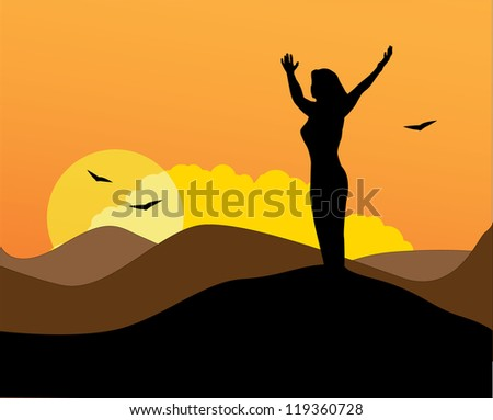 Meditating woman on a hill vector art - stock vector