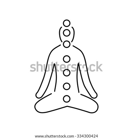 Meditation and chakras black linear icon on white background | flat design alternative healing illustration and infographic - stock vector
