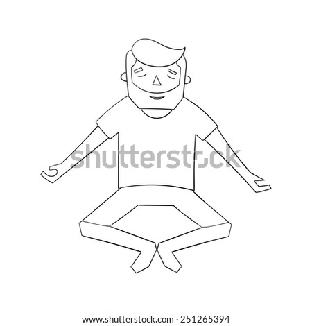 Meditation man black and white vector illustration - stock vector