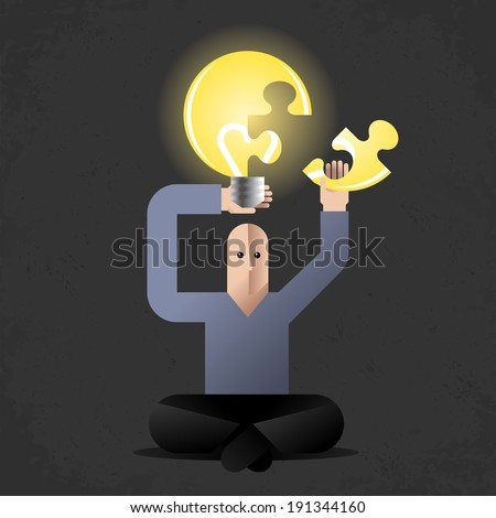 Meditation of Idea Finder. Cartoon man in lotus position, holding lightbulb as metaphoric symbol of new ideas. - stock vector