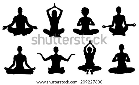 meditation silhouettes on the white background - stock vector