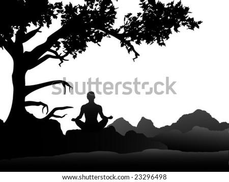 Meditation under a Tree - stock vector