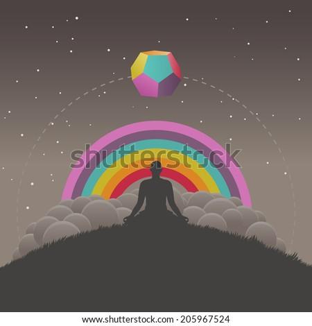 Meditation, vector illustration - stock vector