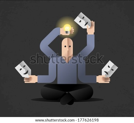 Meditation (vector version). Many armed cartoon man in lotus position, holding masks and lightbulb. Comic illustration on the theme of Generating New Ideas - stock vector