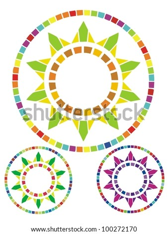 Mediterranean style sun design composed of tiny tiles.  Comes with two color variations. - stock vector