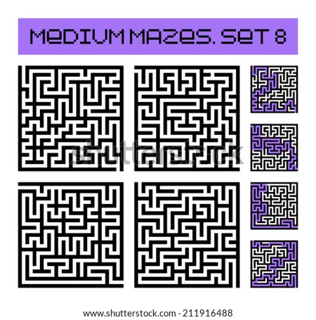 medium mazes set 8 - stock vector