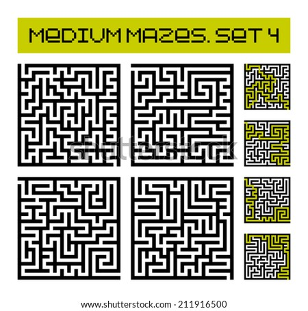 medium mazes set 4 - stock vector