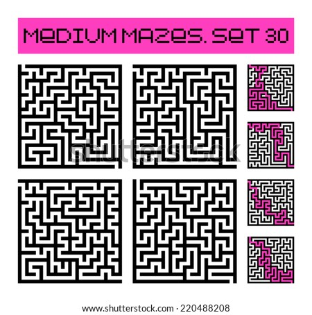 medium mazes set 30 - stock vector