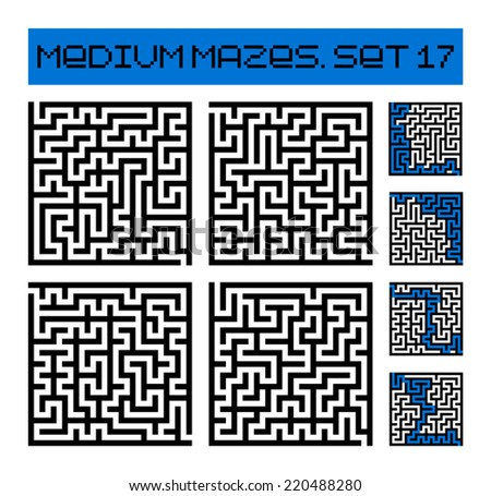 medium mazes set 17 - stock vector