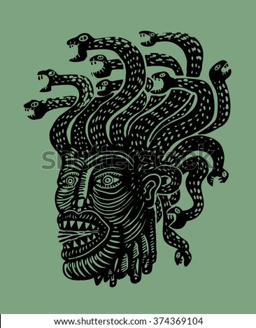 Medusa head - stock vector