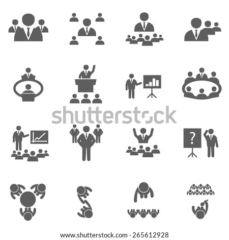 Meet icons set business people on conference office training and seminar - stock vector