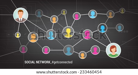 Meet new people and find new friends online using social networks - stock vector