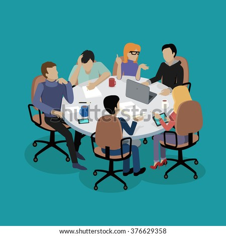 Meeting and discussion briefing. Business meeting, conference and meeting room, business presentation, office teamwork, team corporate, workplace discussing illustration - stock vector