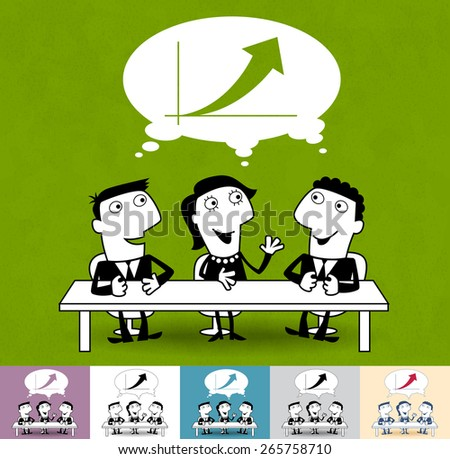 Meeting and discussion. Business illustration (EPS 10). Animation friendly: the elements (legs, arms, heads etc) are in the separate layers.  - stock vector
