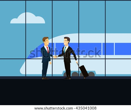 Meeting at the railway station. Two businessman shaking hands. Businessman with luggage on wheels with a business trip. High-speed train at the railway station. Cloud in the sky. Flat Vector image.