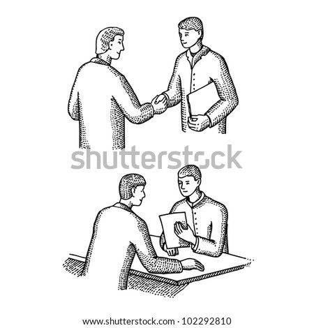 Meeting between two men - stock vector