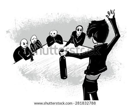 Meeting. business. Provocation. A drunk man at a meeting, a job interview.Vector illustration, isolated