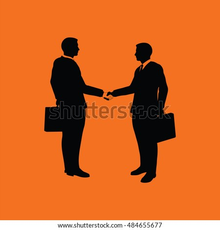 Meeting businessmen icon. Orange background with black. Vector illustration.