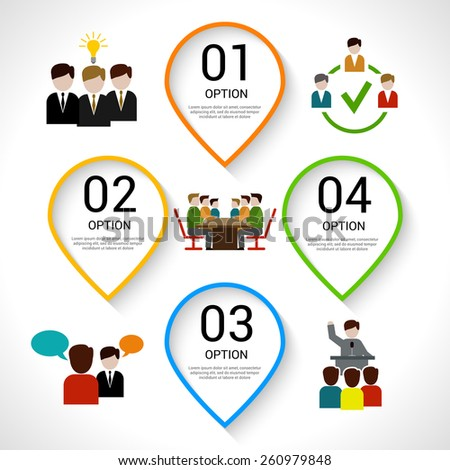 Meeting composition with teamwork and business process flat icons set vector illustration - stock vector