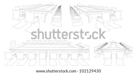Meeting Conference Table Vector 03 - stock vector
