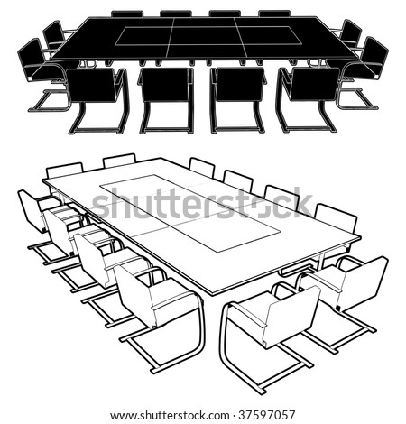 Meeting Conference Table Vector 01 - stock vector