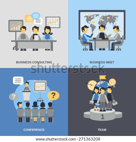 Meeting design concept set with business consulting team conference flat icons isolated vector illustration - stock vector