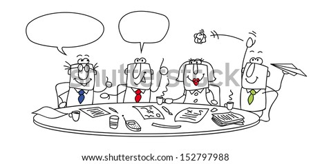 Meeting. Group of managers around a table. This meeting is very important ! - stock vector