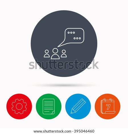 Meeting icon. Chat speech bubbles sign. Speak balloon symbol. Calendar, cogwheel, document file and pencil icons. - stock vector