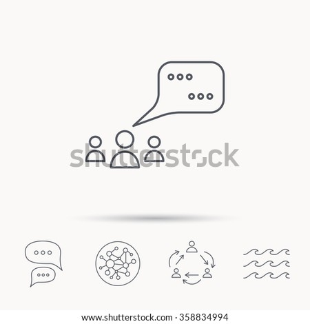 Meeting icon. Chat speech bubbles sign. Speak balloon symbol. Global connect network, ocean wave and chat dialog icons. Teamwork symbol. - stock vector
