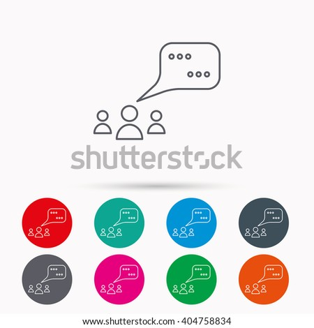Meeting icon. Chat speech bubbles sign. Speak balloon symbol. Linear icons in circles on white background. - stock vector