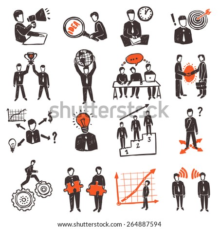 Meeting icon set with hand drawn business people characters set isolated vector illustration - stock vector