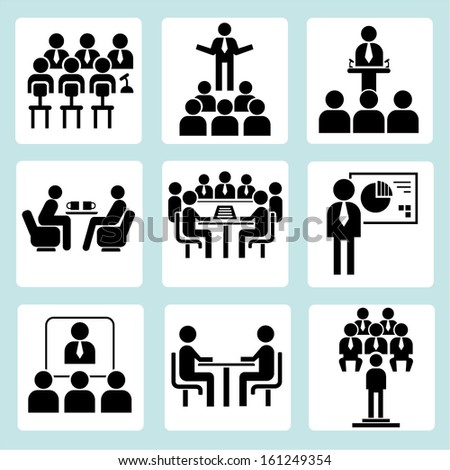 meeting icons set, conference people set, vector - stock vector