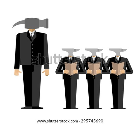 Meeting in  Office. Boss-hammer gives guidance to subordinates anvil. Chief scolds. Vector illustration of business relations.  - stock vector