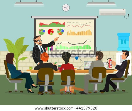 Meeting Marketing. vector. training in marketing. people learn the training techniques of marketing and business activity. Businessmen listening to a lecture on network marketing.results of marketing. - stock vector