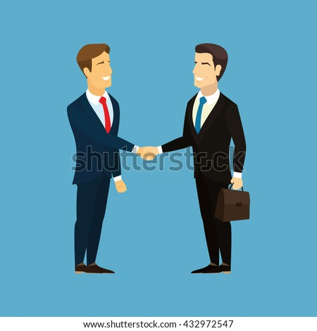 Meeting of business partners. Businessman with briefcase in hand. Two businessmen shaking hands. Vector.