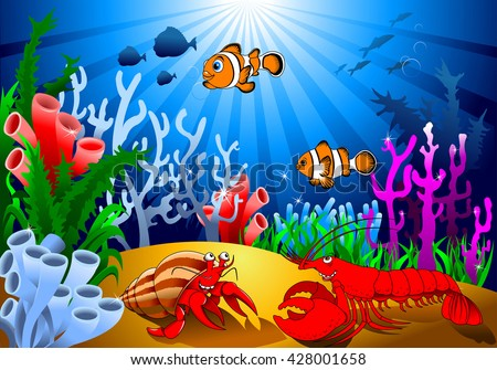 meeting of two cheerful crayfish on the ocean floor, vector;