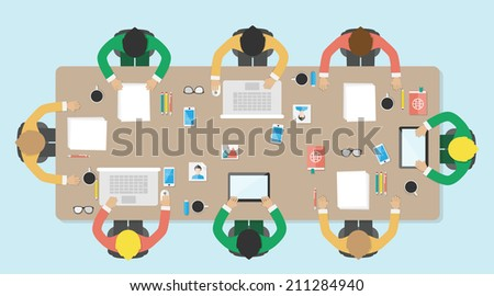 Meeting, office, teamwork, brianstorming, vector illustration. Flat style. - stock vector