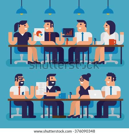 Meeting People Infographic Elements, Pixel Perfect Design - stock vector