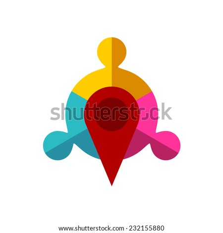 Meeting point logo template. Map pointer with team of three sign. - stock vector