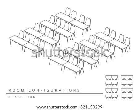 Meeting Room Setup Layout Configuration Classroom Stock Vector