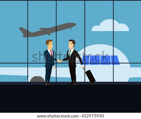 Meeting two businessmen at the airport. Businessmen shaking hands at a meeting. Businessman with luggage on wheels -  business trip. airport lounge with views of the aircraft, which takes off. Vector.