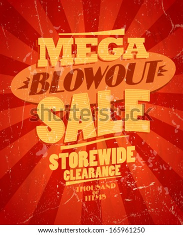 Mega blowout sale, storewide clearance design in retro style. Eps10 - stock vector