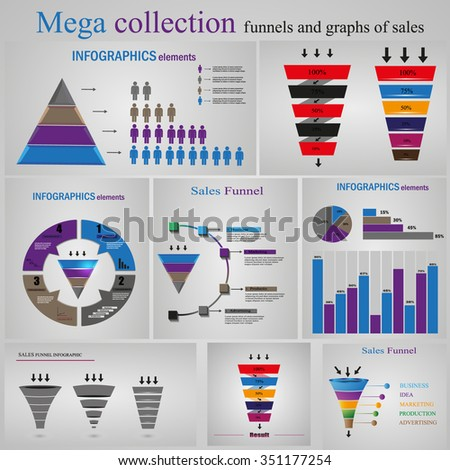 mega collection funnels and graphs of sales - stock vector