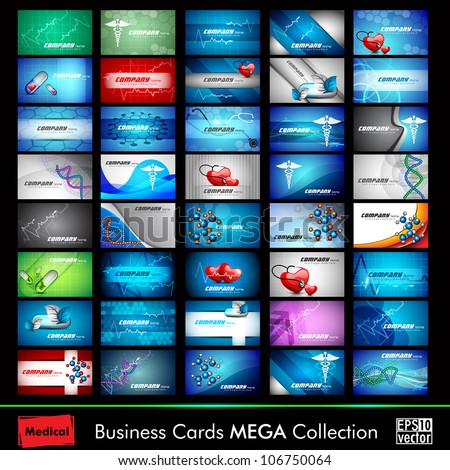 Mega collection of 40 abstract medical business cards or visiting cards on different topic, arrange in horizontal. EPS 10. - stock vector