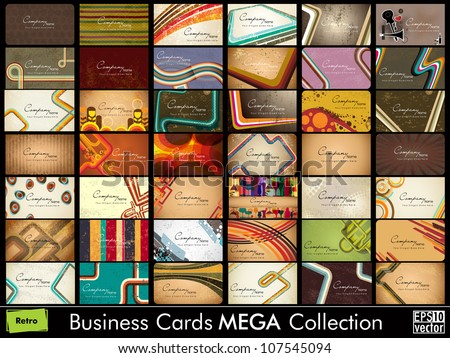 Mega collection of 42 abstract professional and designer business cards or visiting cards on different topic, arrange in horizontal. EPS 10. - stock vector
