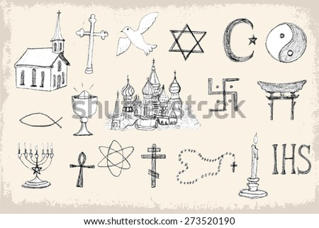 Mega collection of doodle, pencil sketch religion elements. Vector illustration set for cards, invitations, web design, wallpaper, pattern fills, background, surface textures and more.  - stock vector