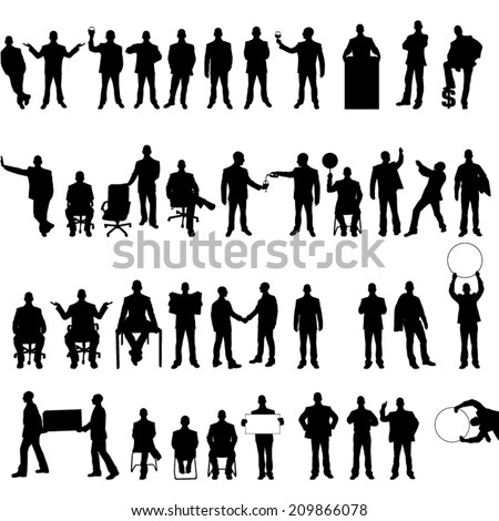 MEGA COLLECTION OF FORTY BUSINESS MAN SILHOUETTE 2 - stock vector